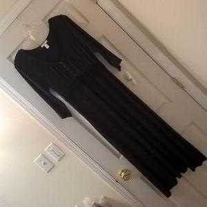 Vera Wang NWT Black Ruffle Waist Dress S